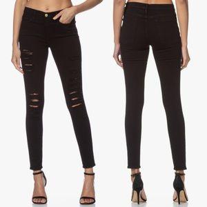 Frame Le Skinny de Jeanne Ripped Jeans Black Sz 30